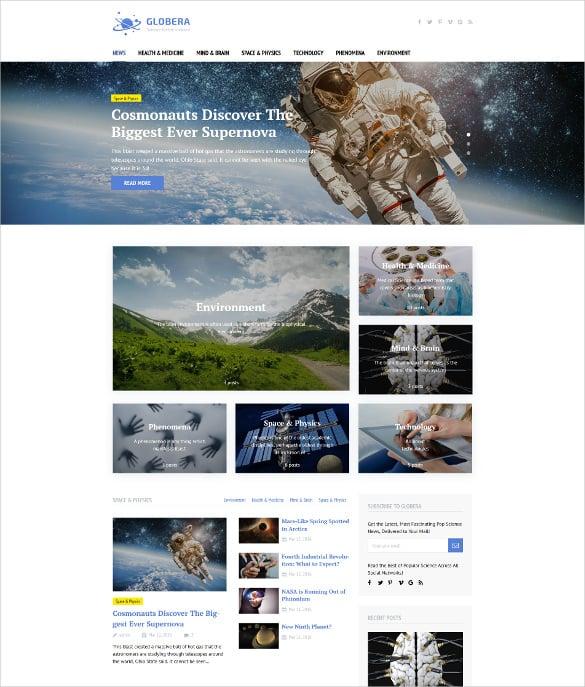 best globera scientific magazine wordpress theme