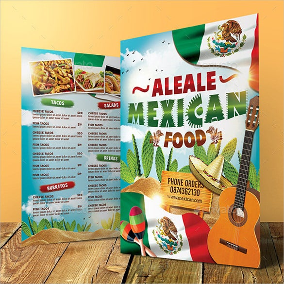 mexican food menu ai illustrator format download