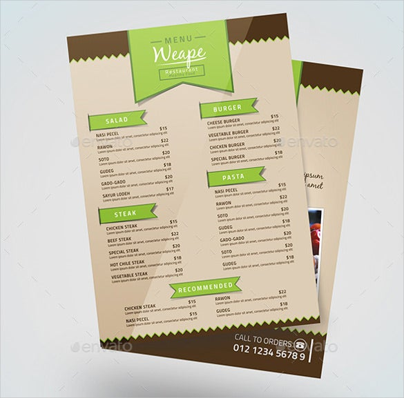 31 Food Menu Templates Free Sample Example Format Download – Sample Cafe Menu Template
