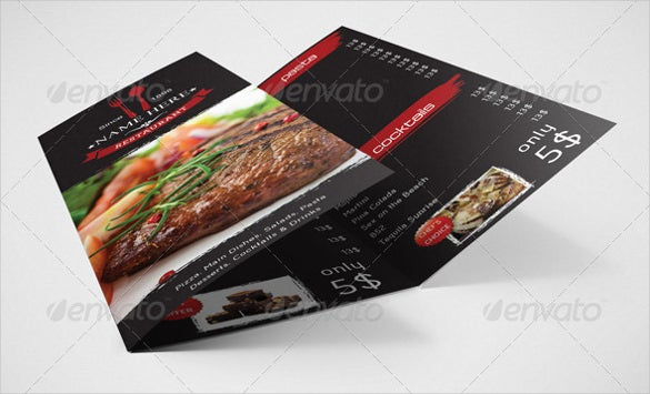 trifold food menu vector eps format download