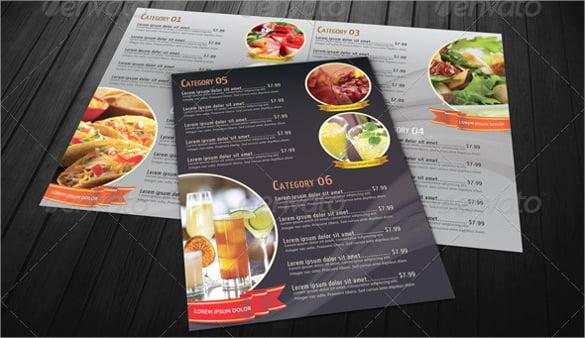 bi fold restaurant food menu psd format download