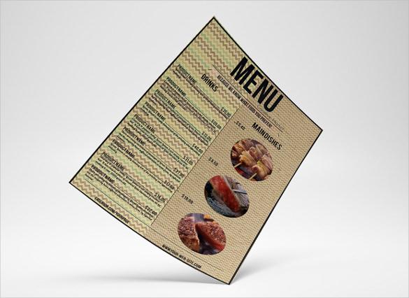 example food menu template download
