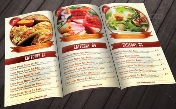 psd format of tri fold restaurant food menu template