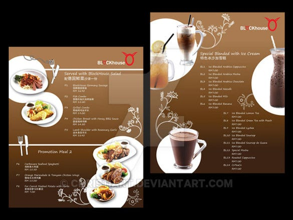 sample food menu template download