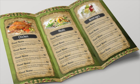 example restaurant foods menu tri fold template download