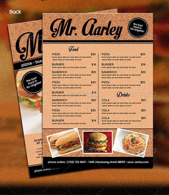 Fast Food Menu Template Sample