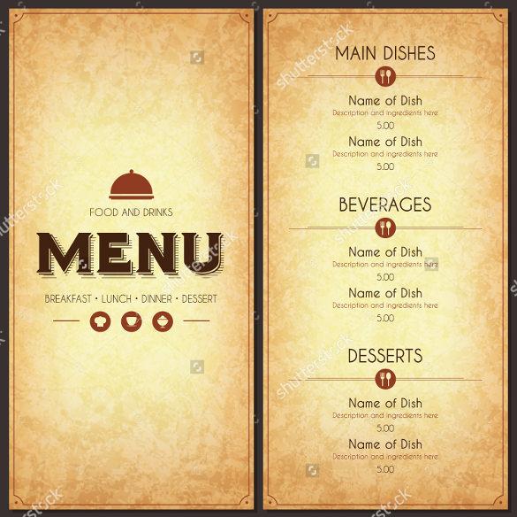 vector format of food menu template