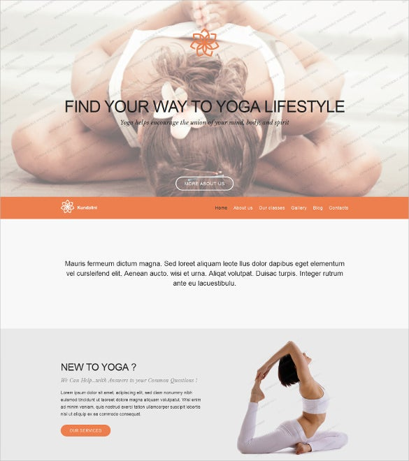 yoga club free wordpress template