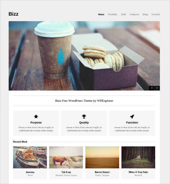 bizz – free minimal business portfolio wordpress theme