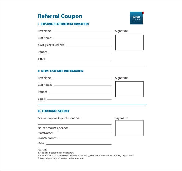 attrayant Referral Coupon Template For Banks