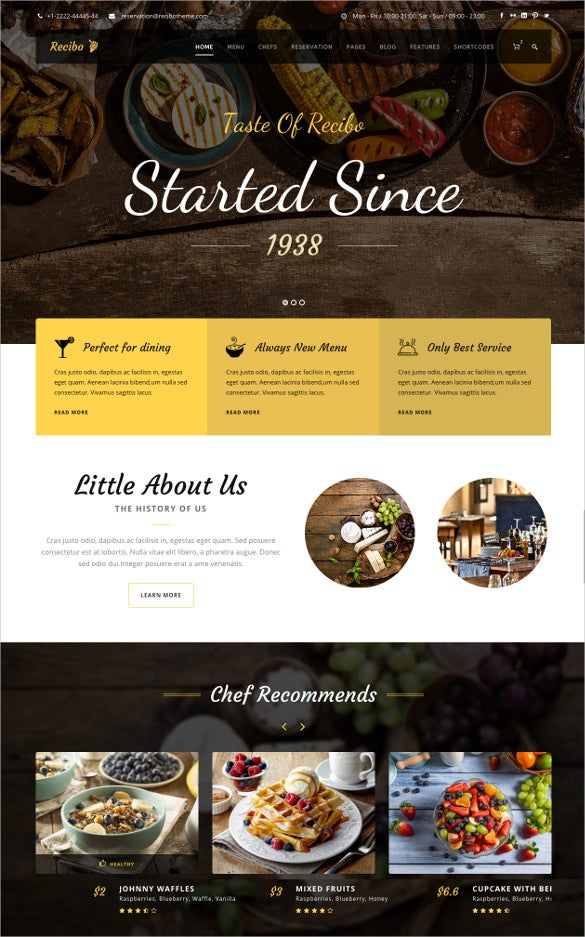 special food restaurant wordpress theme