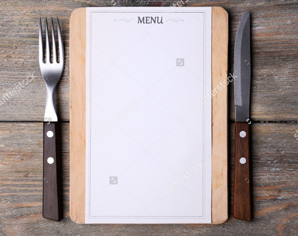 example blank menu template