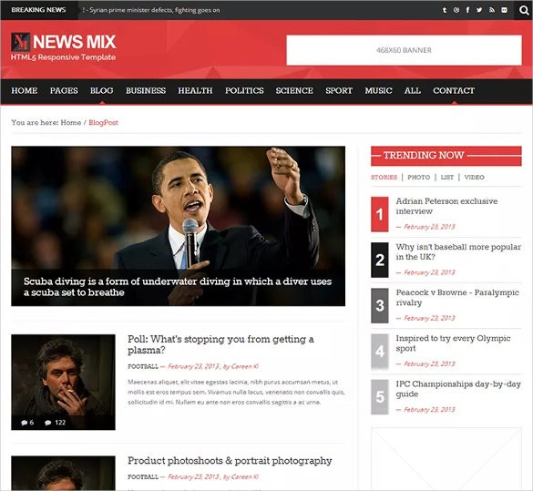 live news free wordpress template