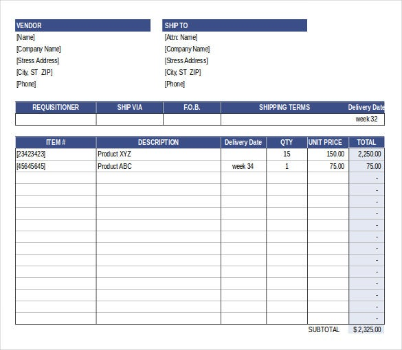 Purchase Order Template Free Templates – Purchase Order Forms