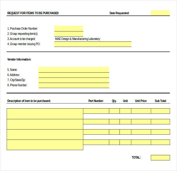 purchase order request form excel format