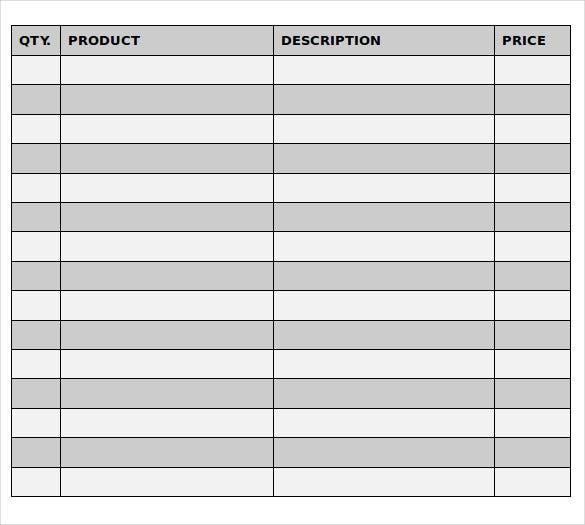 price description of formal purchase order document
