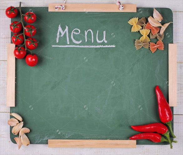 example blank menu on chalkboard template