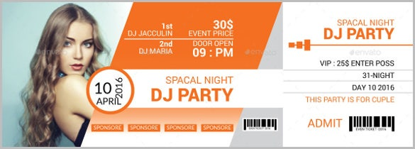 dj party event creative ticket eps format download