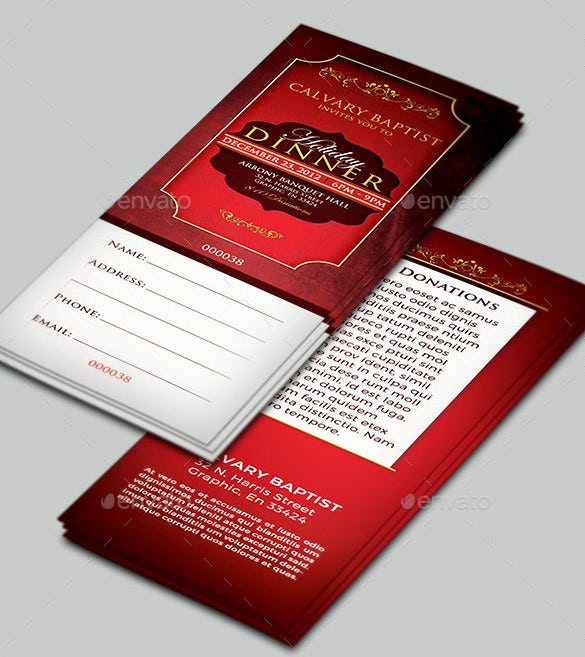 creative holiday dinner ticket psd format