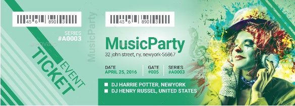 music party event creative ticket psd design