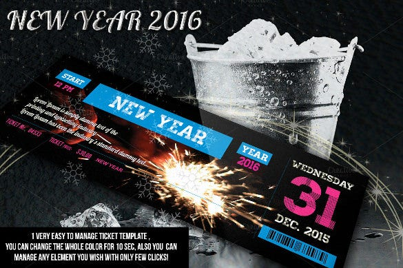 new year creative ticket in psd design download