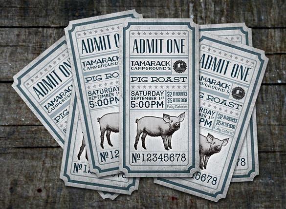 tamarack pig roast creative ticket design