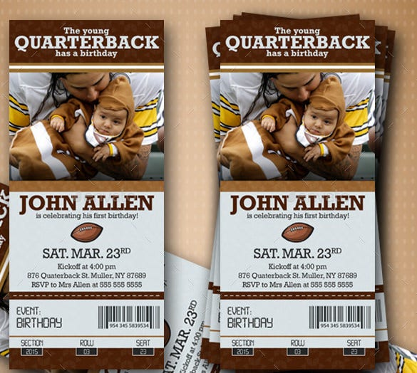 american football birthday ticket creative design