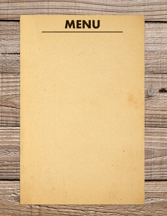 sample blank menu template download