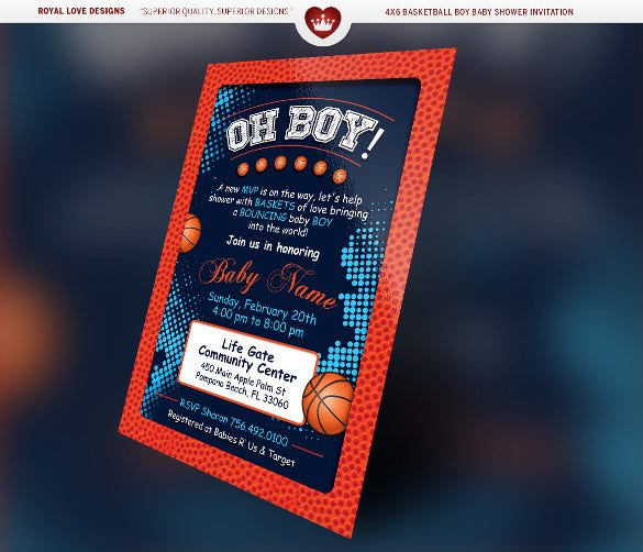 basketball boy baby shower ticket design download