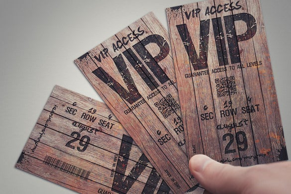 printable magical wood creative vip ticket design