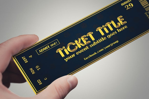 Golden Style Creative Ticket Design Download  Concert Ticket Design