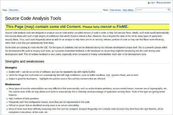 owasp source code analysis tools