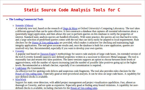 static source code analysis tools for c