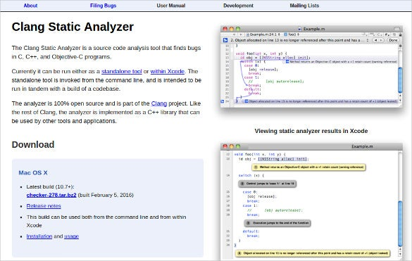 clang code static analyzer tool download