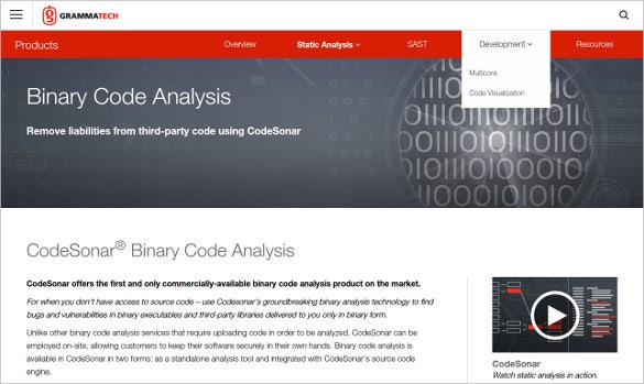 codesonar binary code analysis tool