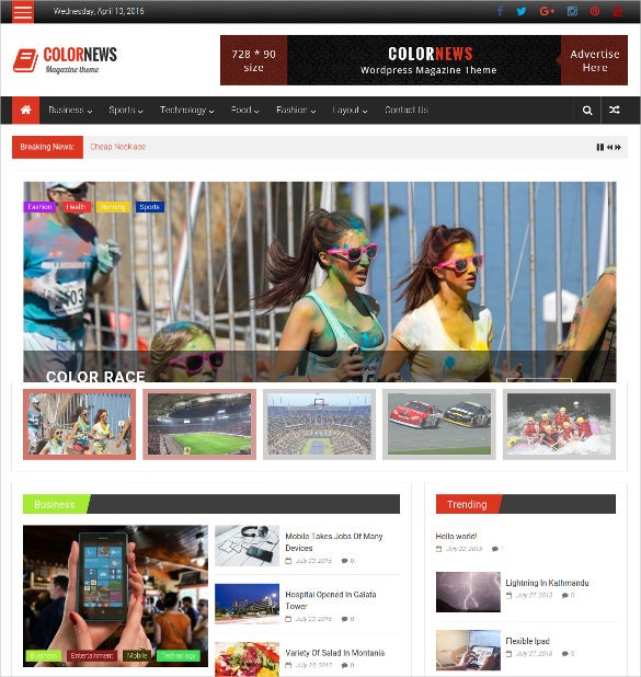 color news free wordpress theme