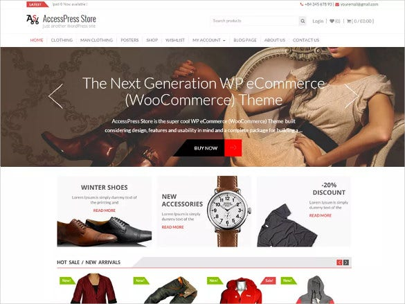 shop free wordpress template