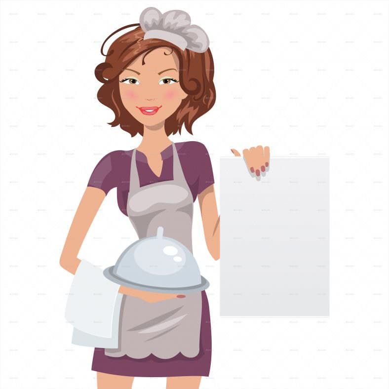 female chef with blank menu vector format download 788x788