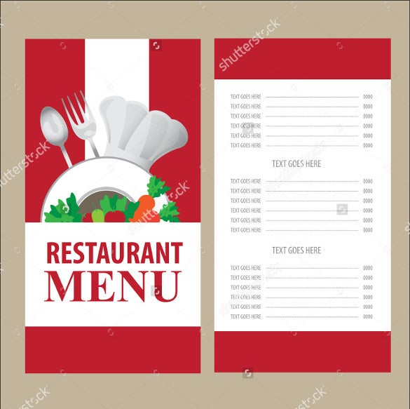example menu card template download