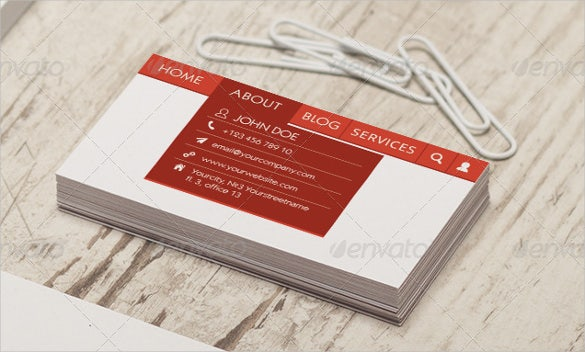 web menu style business card psd format download