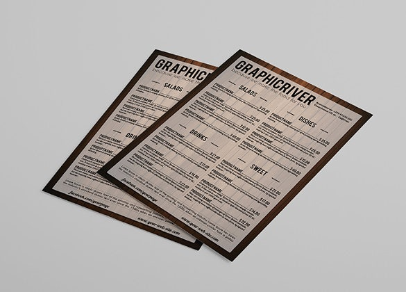example multipurpose wooden style menu card template