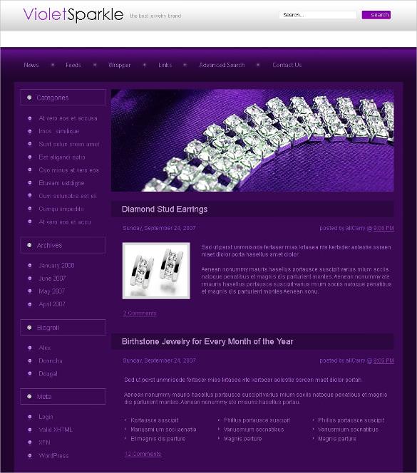 sparkle jewelry psd template