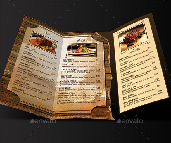 psd format of restaurant menu trifold business card template