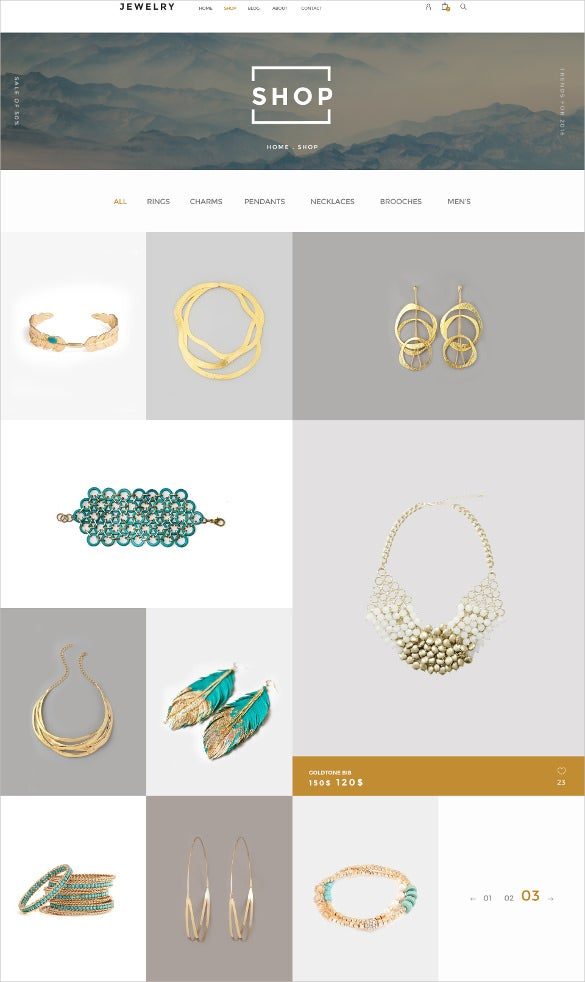 jewelry ecommerce psd template