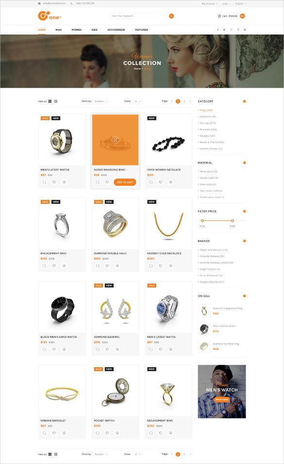 jewelry watch fashion e commerce psd template