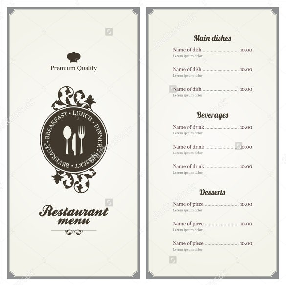 45 menu card templates free sample example format download