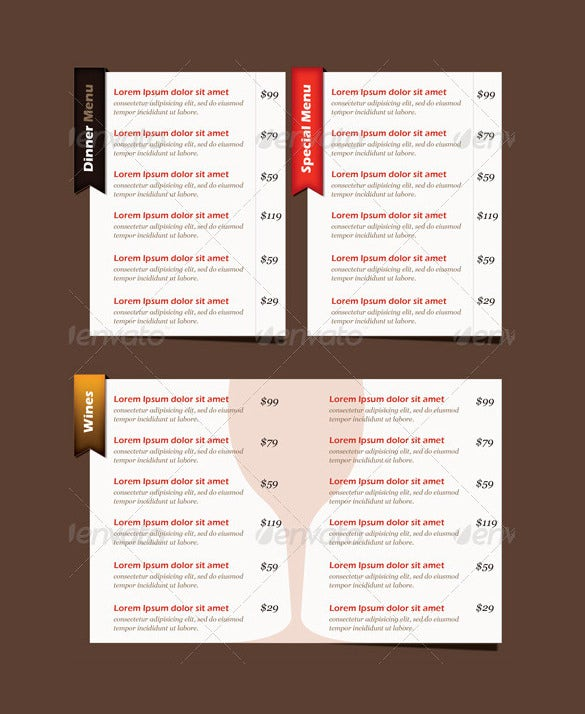 testaurante menu card psd format download