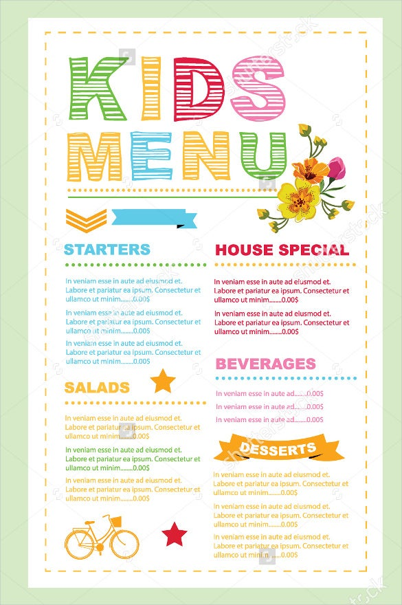 kids menu card vector format download