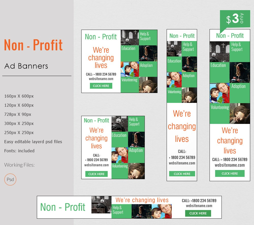 Simple Non Profit Ad Banner Template