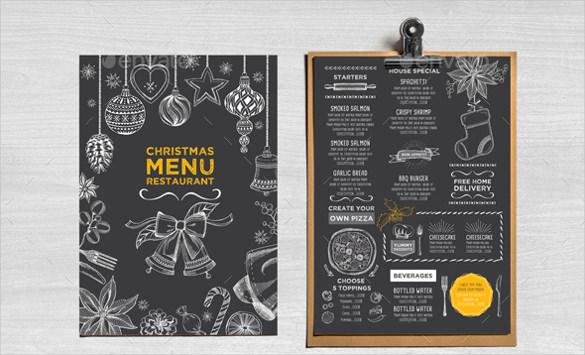 christmas menu ai illustrator format download